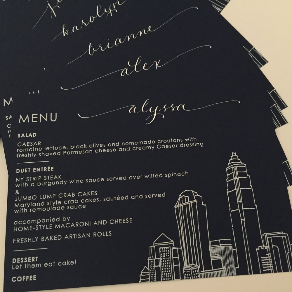 Menus that acted as place cards written in gold
