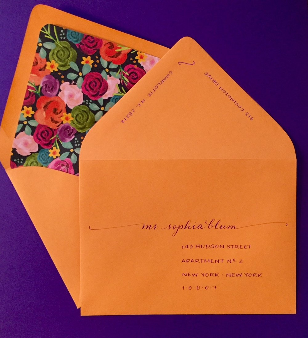 Bold, fun invitations for a bridal shower written in purple ink