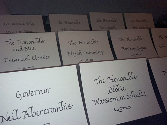 Place cards lettered for the Democratic National Convention when it was in Charlotte, NC
