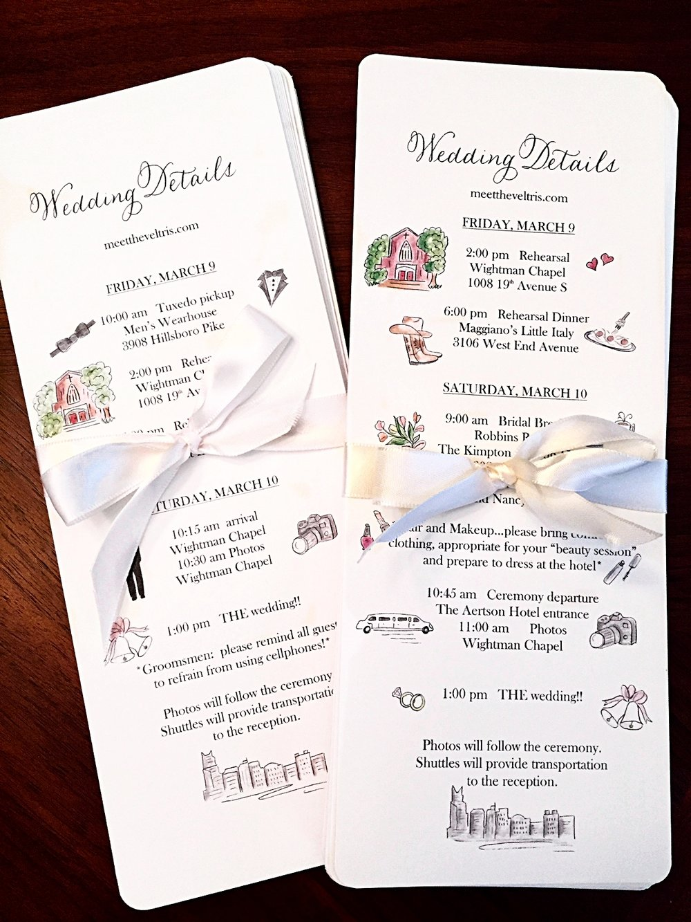 Wedding detail cards with hand illustrations