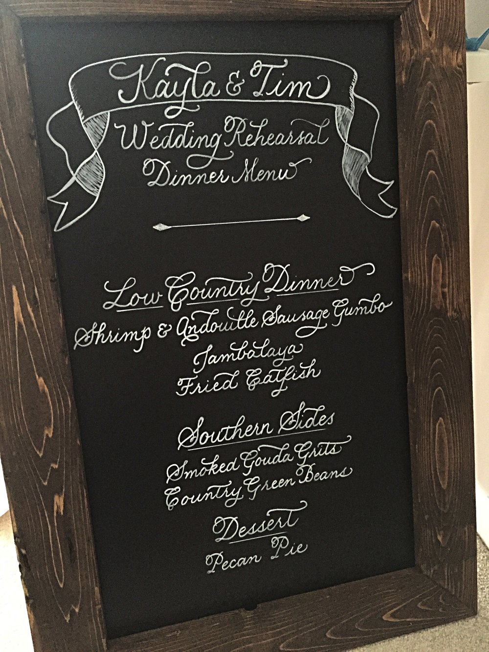 Chalkboard menu for a vintage wedding