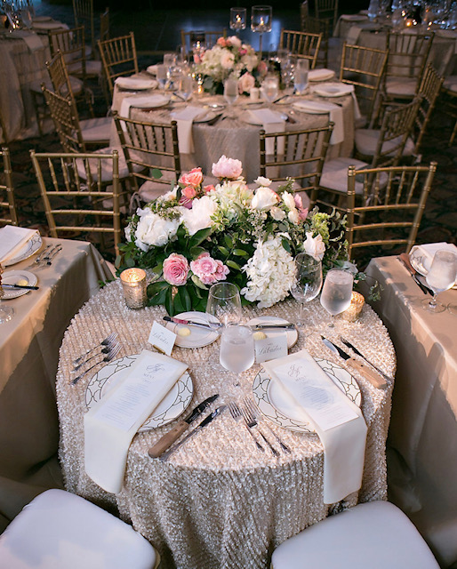 Gorgeous wedding sweetheart table with custom place cards.