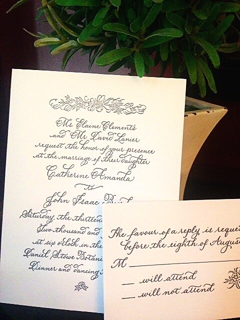 Custom invitations in letter pressed