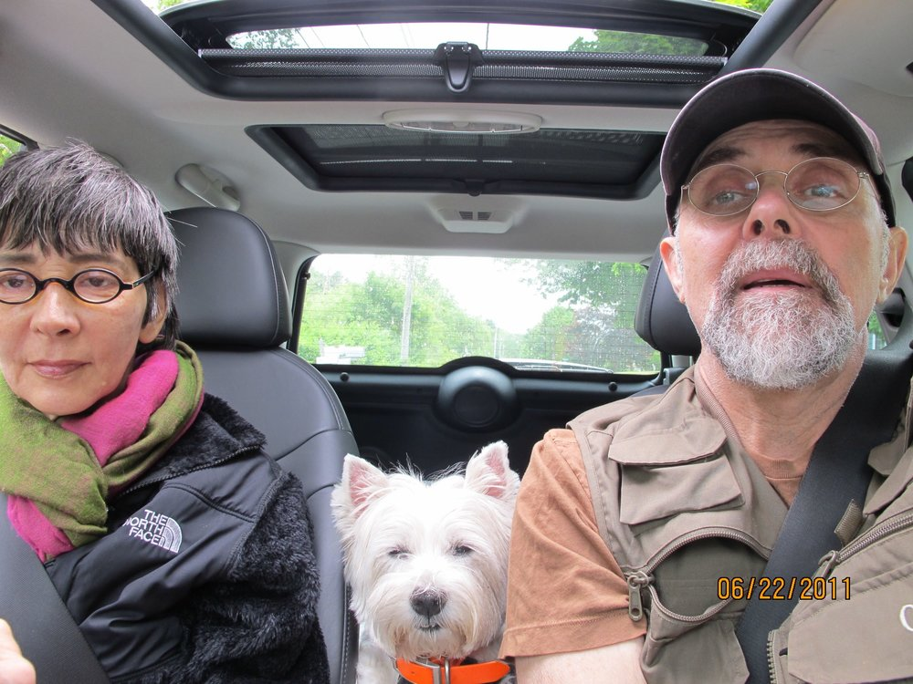 Dog Is My Co-Pilot: Donna, Nina, and I driving to Cape Elizabeth Maine.