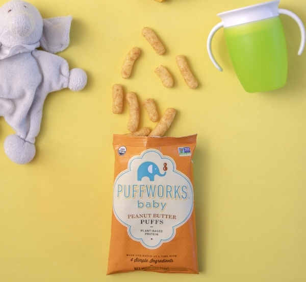 Organic Peanut Butter Puffs for baby - Simple, organic ingredients.Our Puffworks baby corn puffs are a nutritious plant-based snack option that parents can feel good about serving to their little ones.