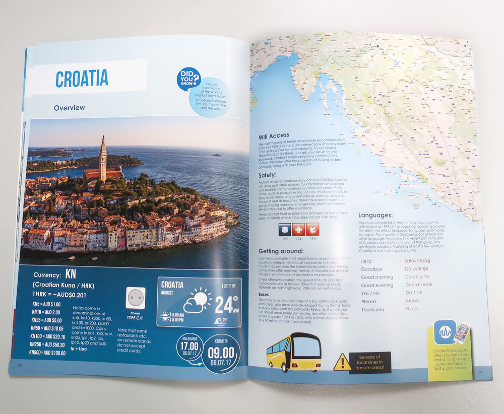 Pages from custom travel brochure