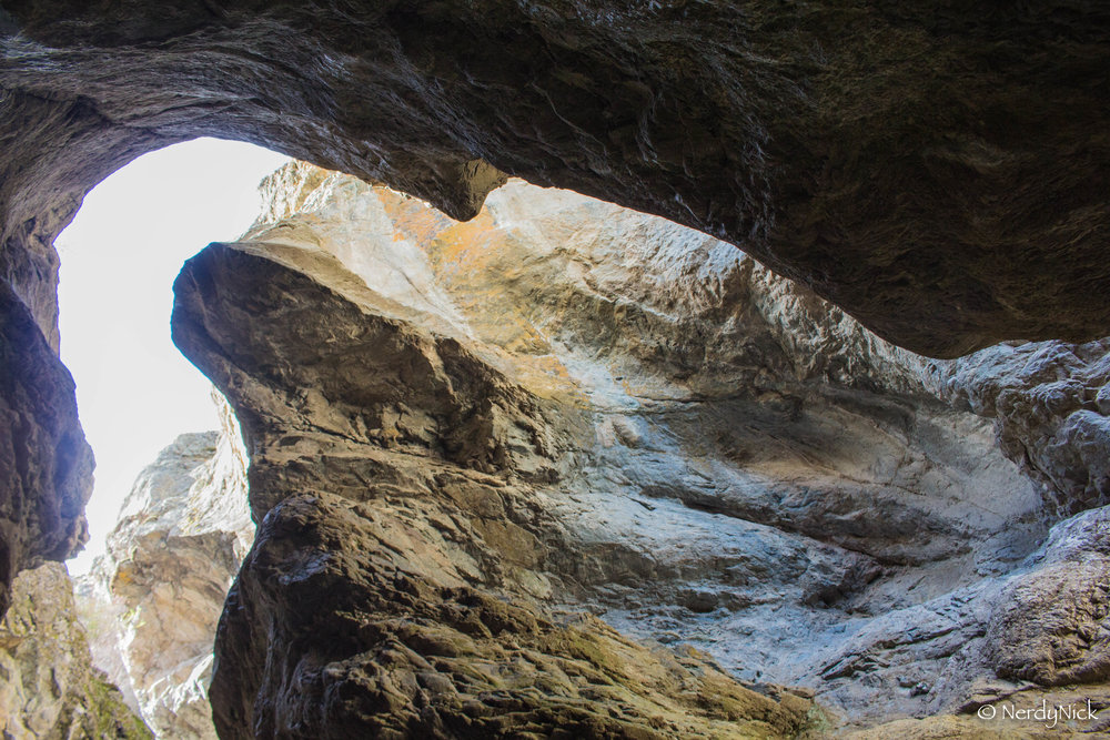 Looking up through the rock that mother nature carved