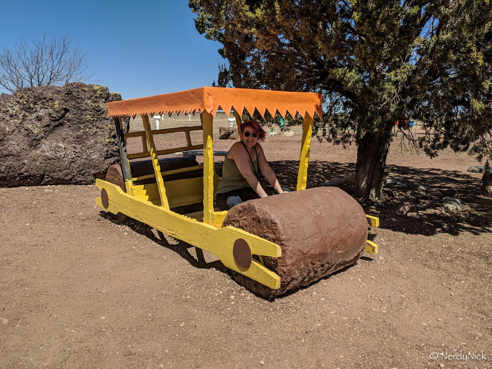 ShAnnon driving the Flintstone Mobile