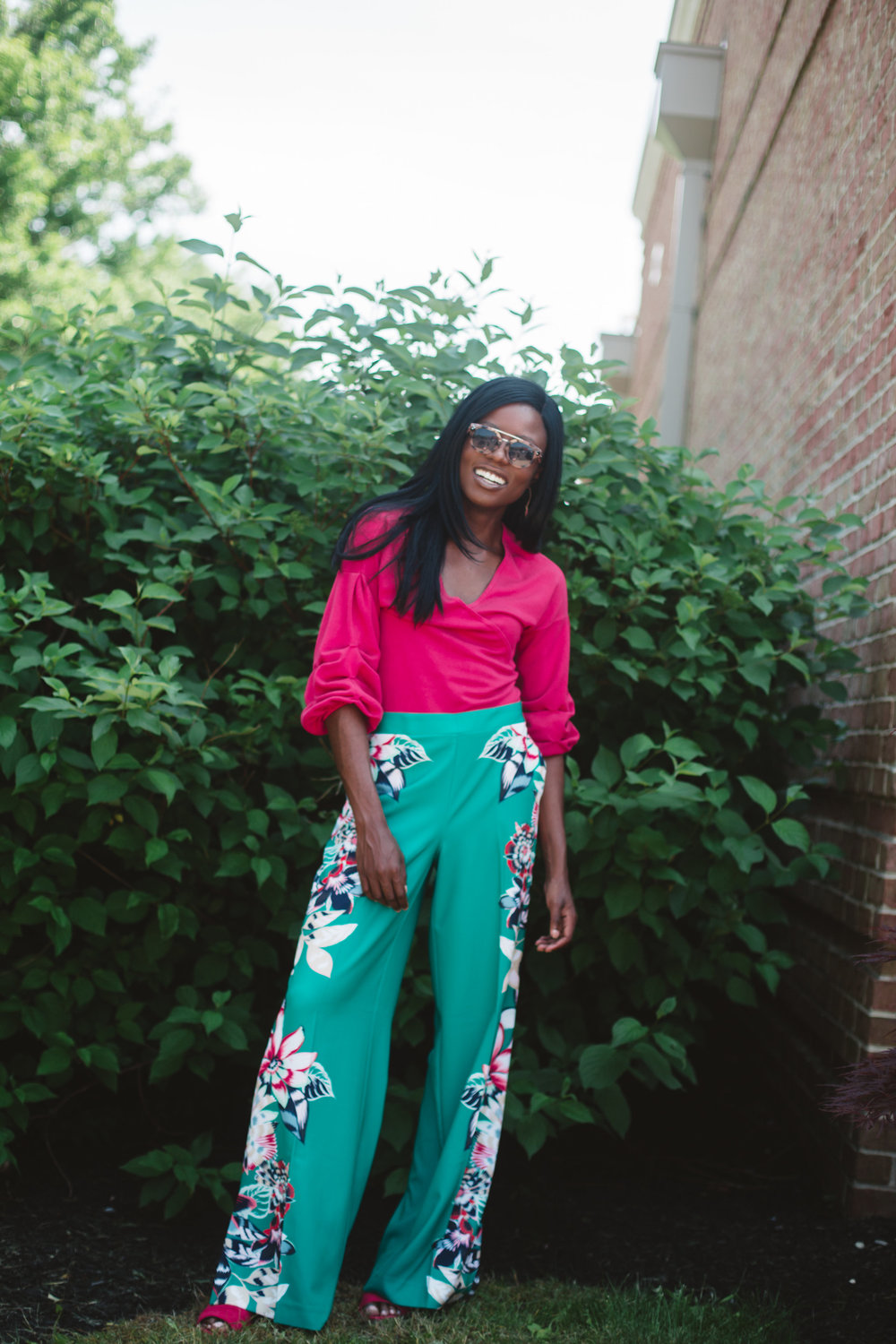Top: 7th Avenue - Puff-Sleeve V-Neck Sweater  here   Bottoms: Gabrielle Union Collection - Floral Palazzo Pant  here