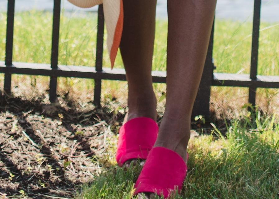 Shoes:Faux Suade Mule Slide Sandals  here