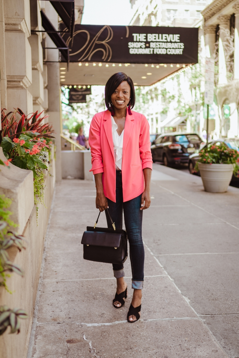 Day-look! Blazer: NY & Company ; under $30 with discounts!  Jeans:  Arizona @ JCPenney ; on-sale in December 2016 for under $20  Shoes:  INC clearance shoe sale at Macys  ; under $20  Handbag:  TJMaxx ; $39.99