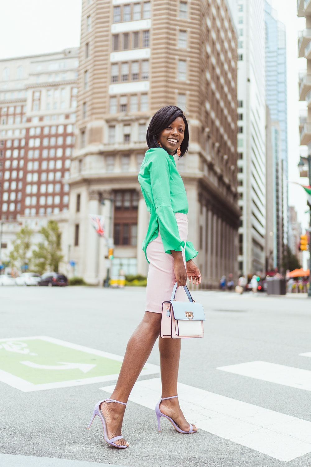 color-blocking for the office -         Bold color for a bold woman!