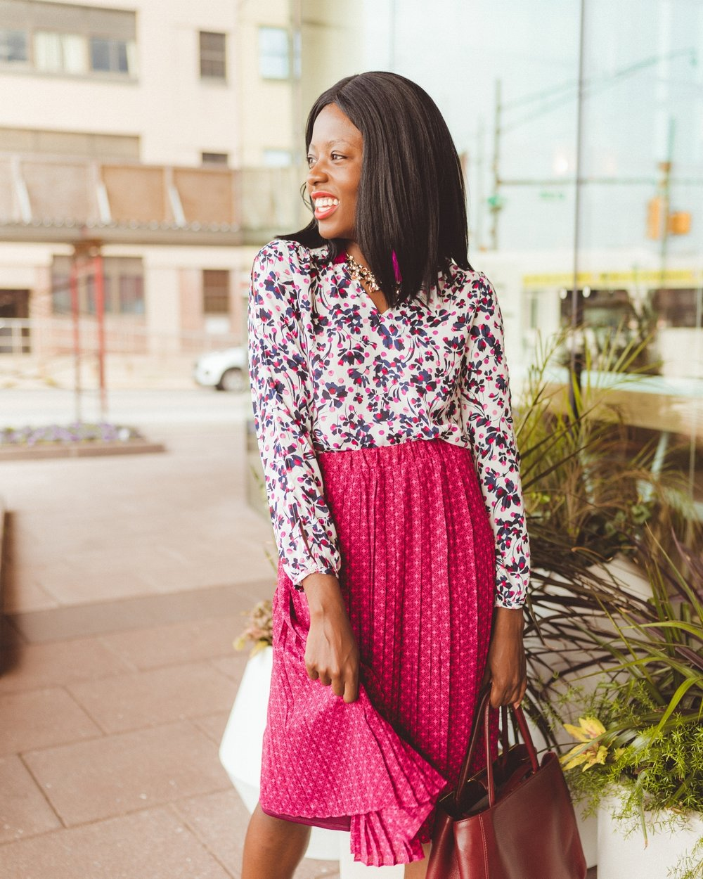 Print Button-Sleeve Classic Shirt  here   Print Pleated Maxi Skirt  here   Neckless - Banana Republic Factory