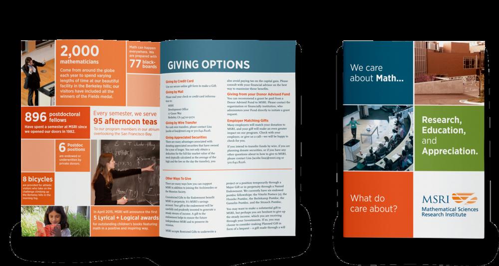 Fundraising brochure for a math education organization