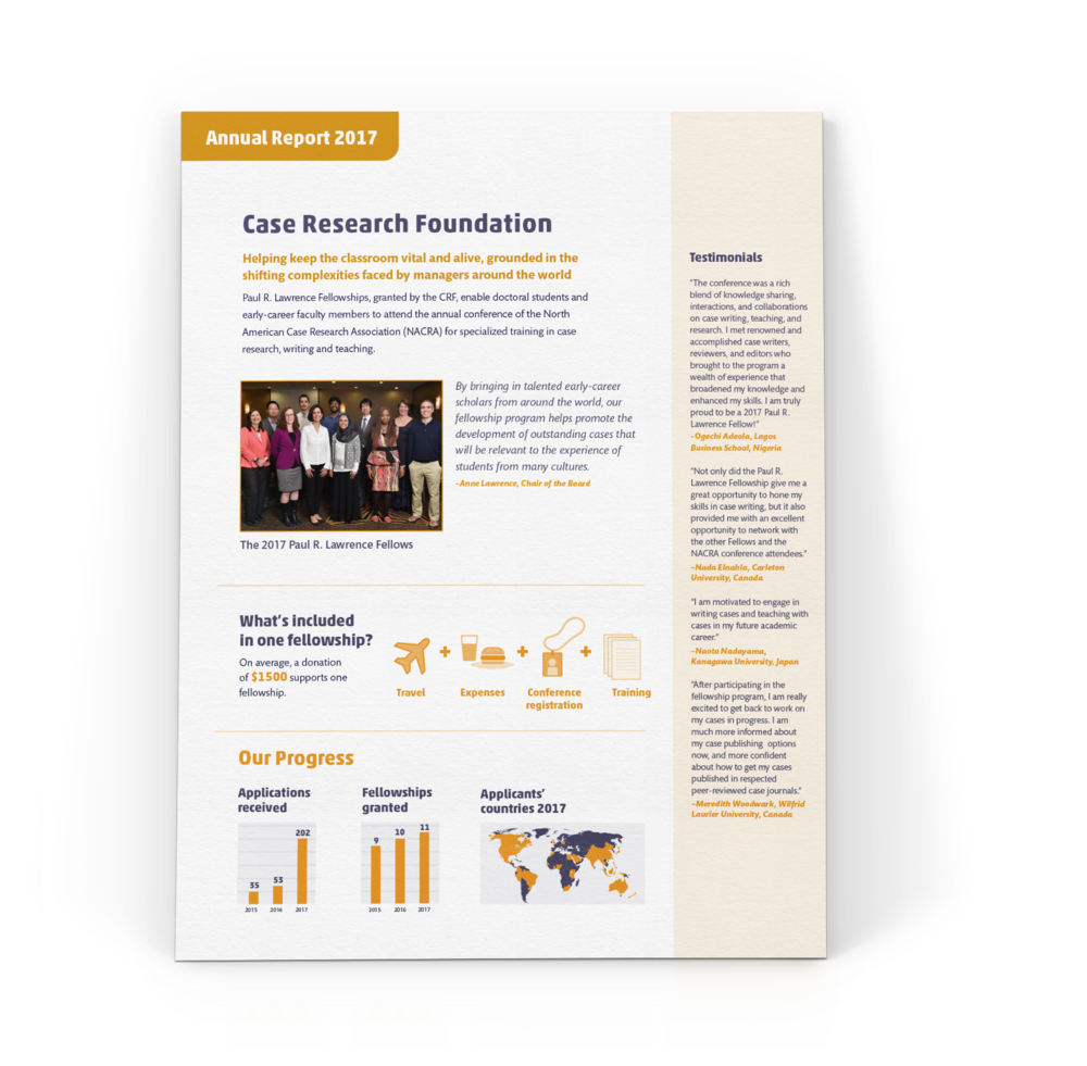 One-pager report on a foundation's annual impact