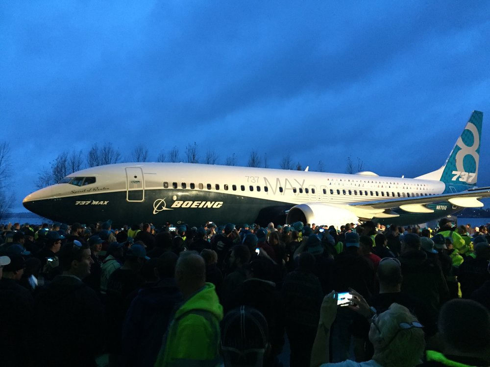 The Boeing 737 Max 8 unveiled in Seattle, Washington. (Ask the Beav photo)
