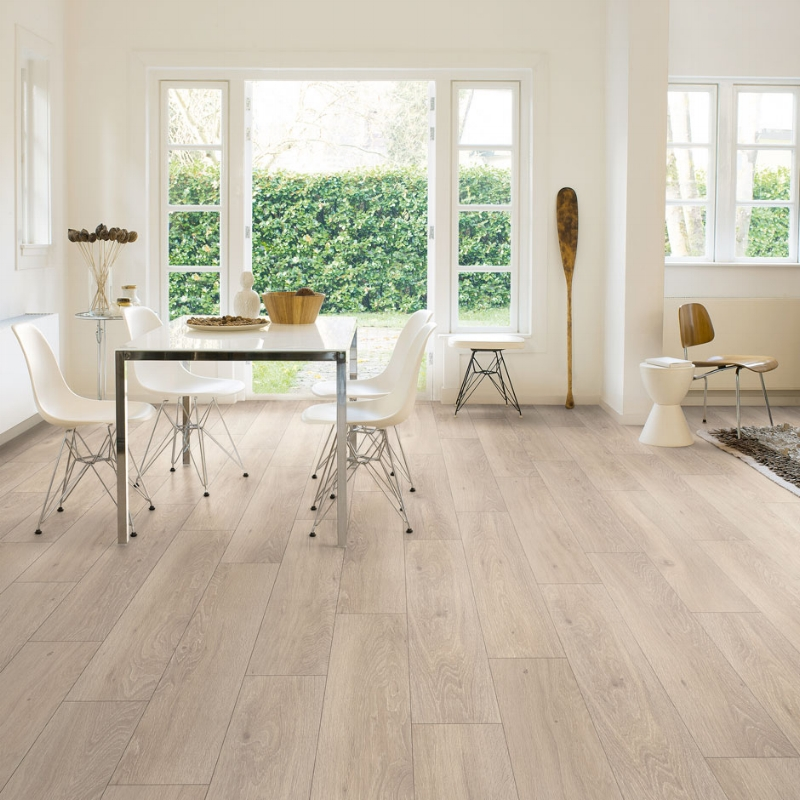 Hard-wearing laminate flooring in high foot traffic areas of the home