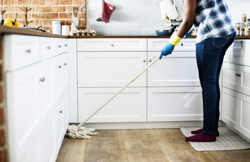 Mopping floors clean