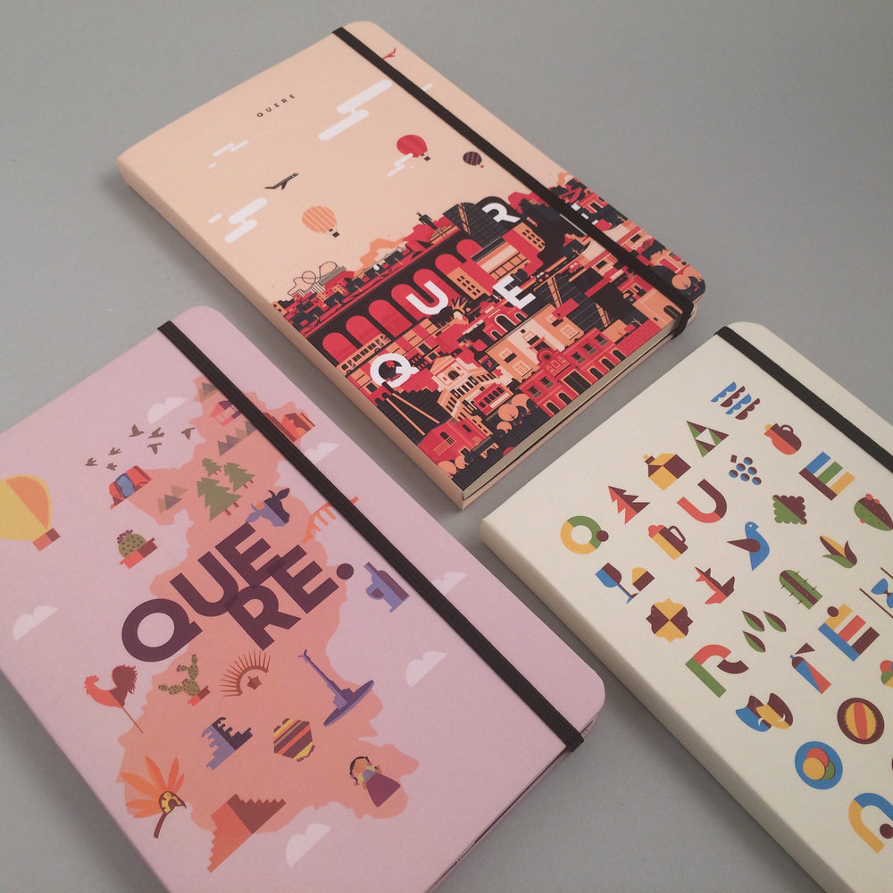 Quere.   Esquema: BrandMates  Tiraje: 15 Notebooks  Diseños: 3 diferentes  Tiempo de entrega: 5 días hábiles