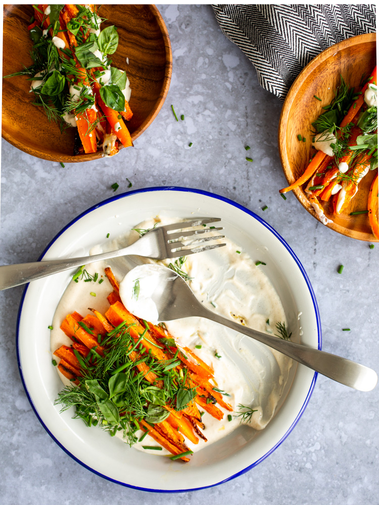 Roasted Carrots with Creamy Tahini and Tender Herbs | www.mackenziemjordan.com
