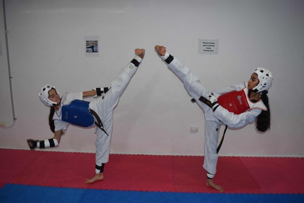 Facing Taekwondo Kicks with Sparring Gear 1.jpg