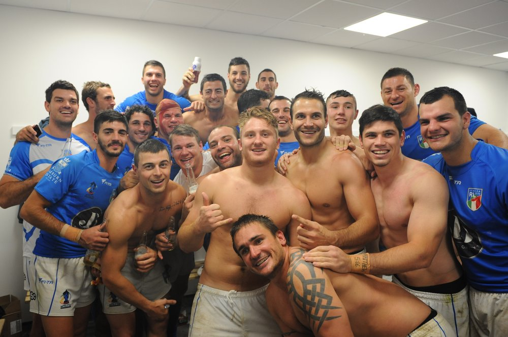 Celebrations following win against England