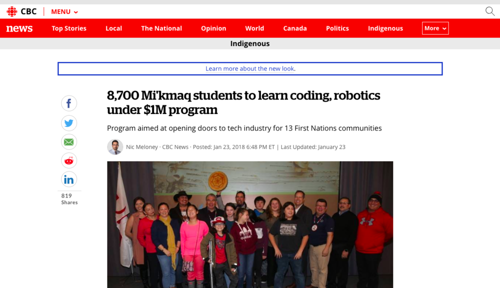 8,700 Mi'kmaq students to learn coding, robotics under $1M program