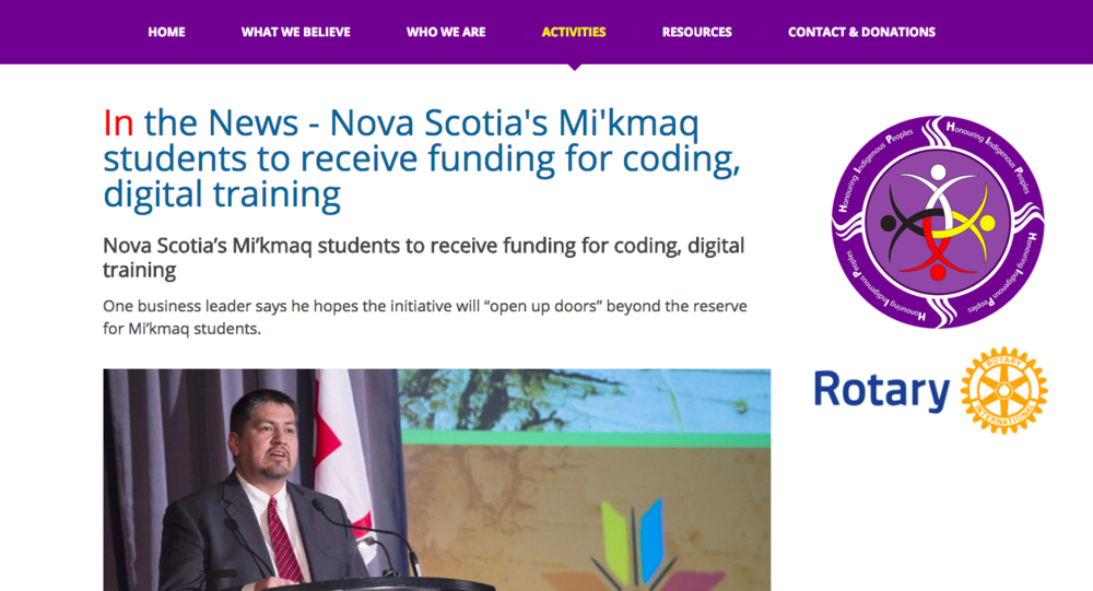 In the News - Nova Scotia's Mi'kmaq students to receive funding for coding, digital training