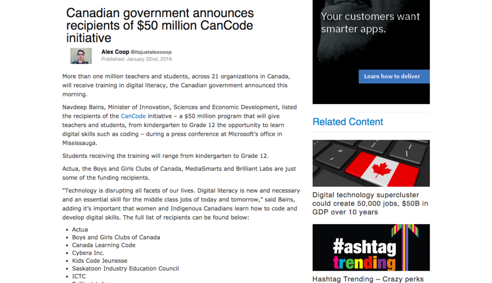 Canadian government announces recipients of $50 million CanCode initiative