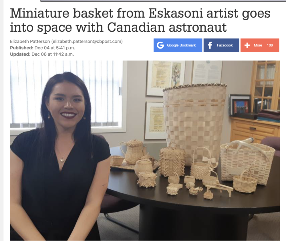 Miniature basket from Eskasoni artist goes into space with Canadian astronaut