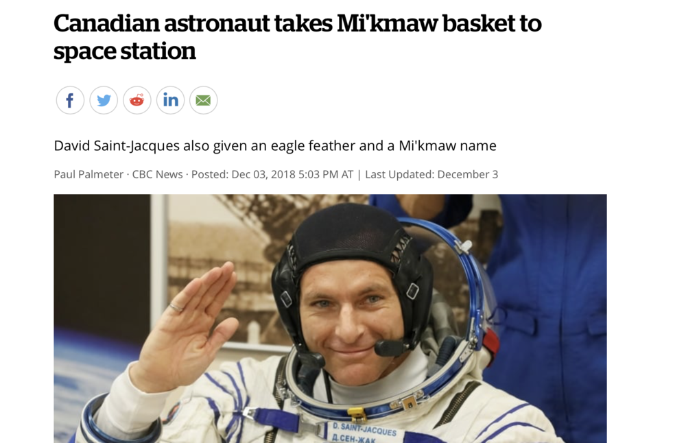 Canadian astronaut takes Mi'kmaw basket to space station
