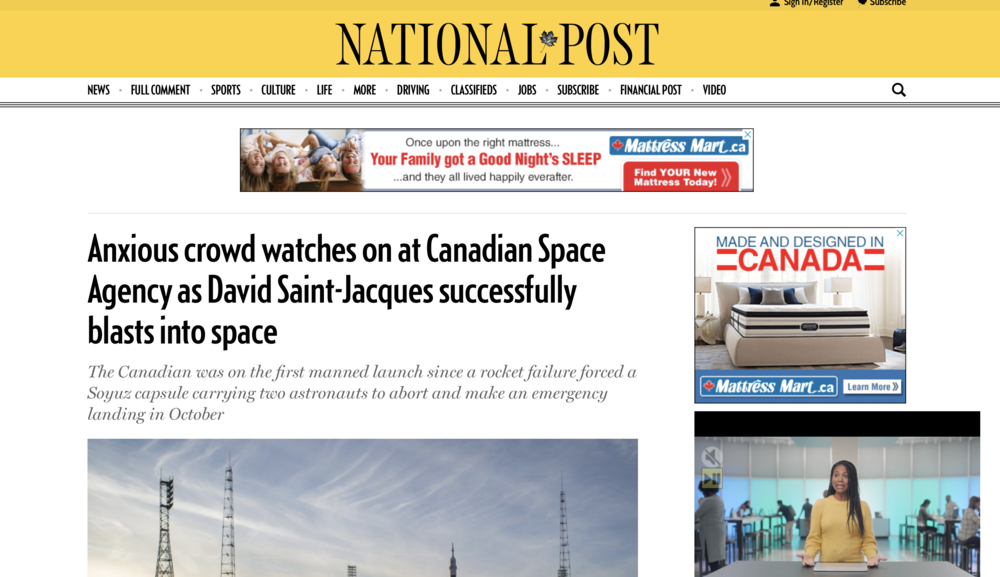 Crowd watches on at Canadian Space Agency as David Saint-Jacques successfully blasts into space