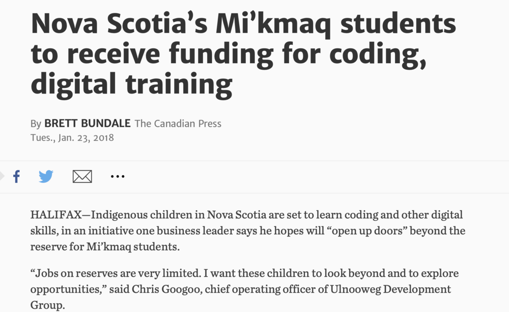 Nova Scotia's Mi'kmaq students to receive funding for coding, digital training