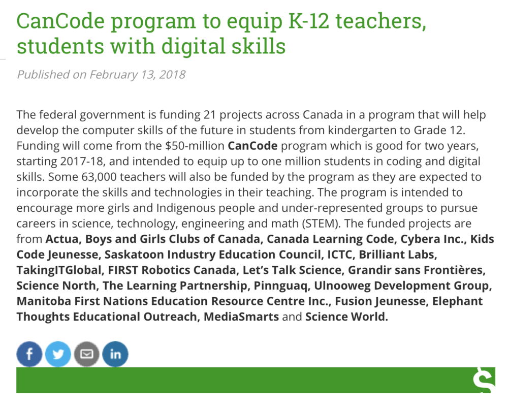 CanCode program to equip K-12 teachers, students with digital skills