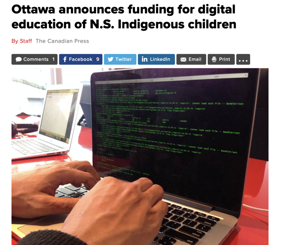 Ottawa announces funding for digital education of N.S. Indigenous children