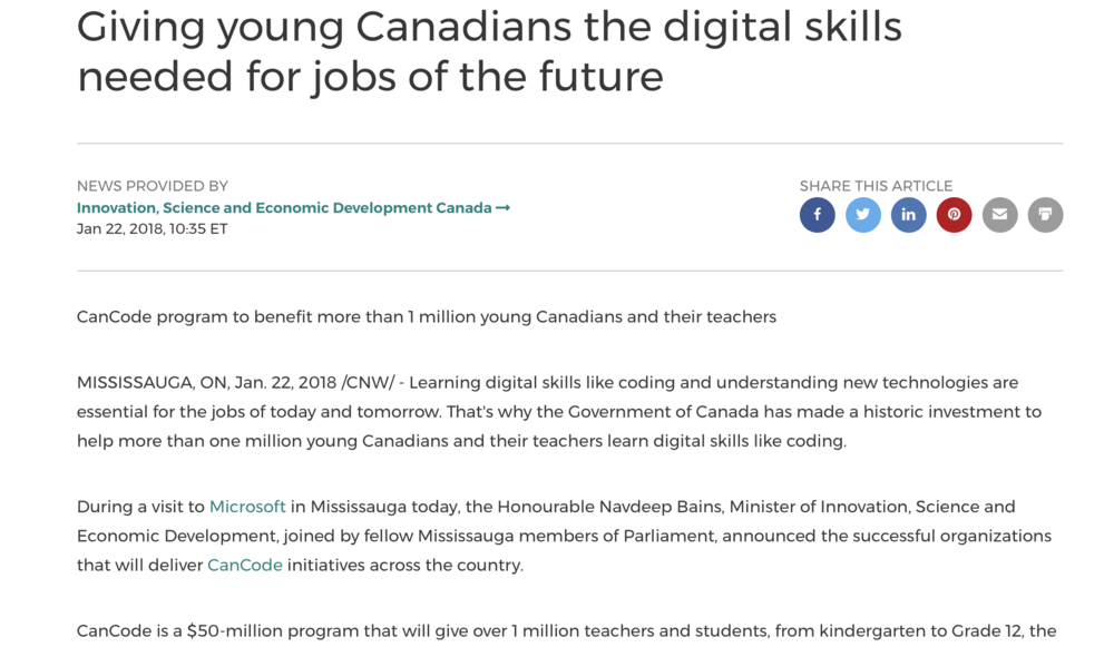 Giving young Canadians the digital skills needed for jobs of the future