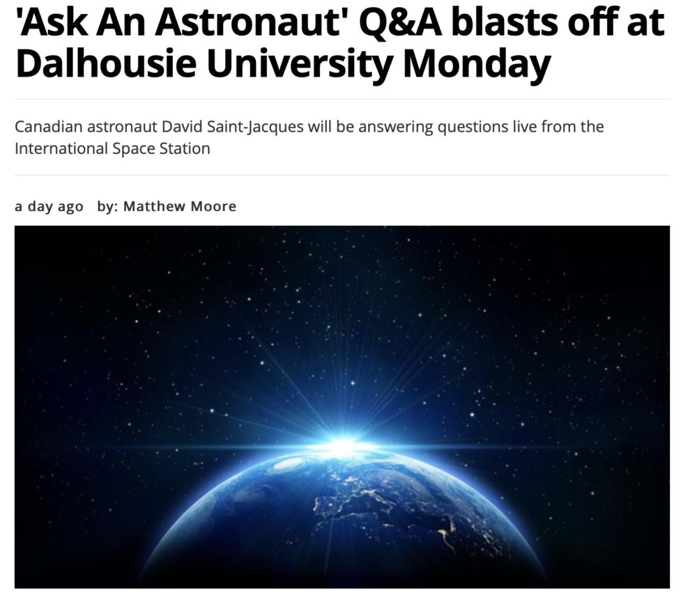 'Ask An Astronaut' Q&A blasts off at Dalhousie University Monday