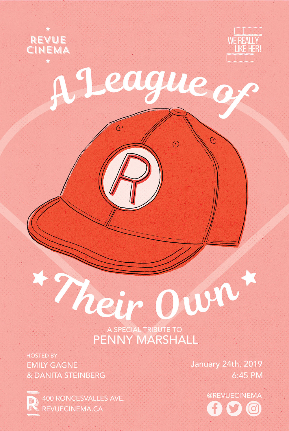 WE REALLY LIKE HER!:  A LEAGUE OF THEIR OWN   January 24, 2019, Revue Cinema   Tribute to the late Penny Marshall. Sold out!
