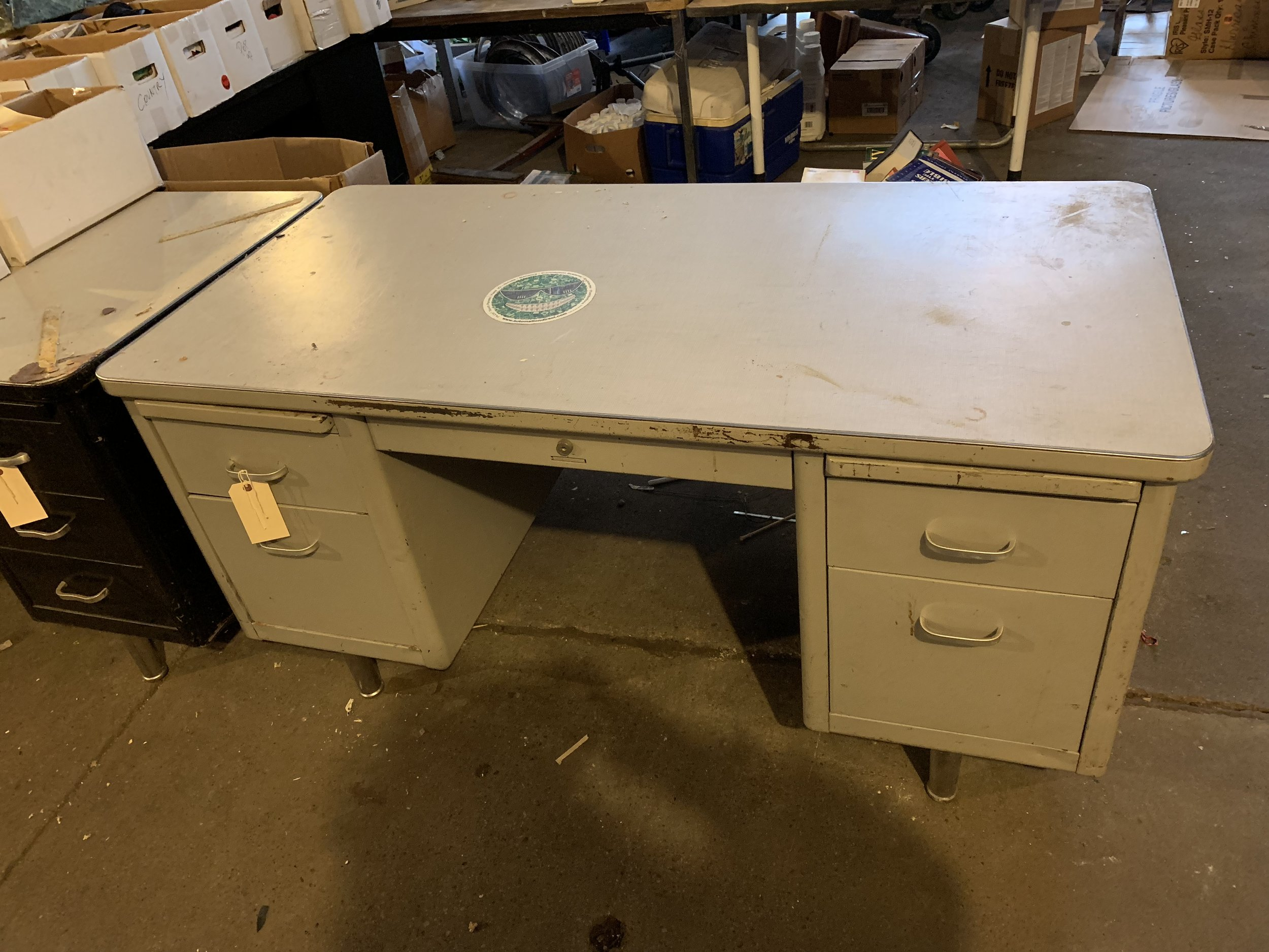Vintage Mid Century Shaw Walker Steelcase Tanker Industrial Desk