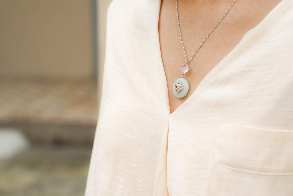 The Peranakan Flower Jade Necklace.