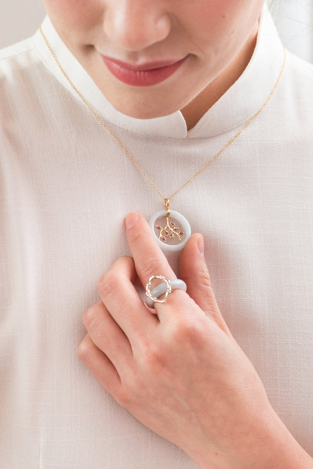 Bamboo Vine Necklace ,  Bamboo Square Jade Ring in Ivory Gol d.