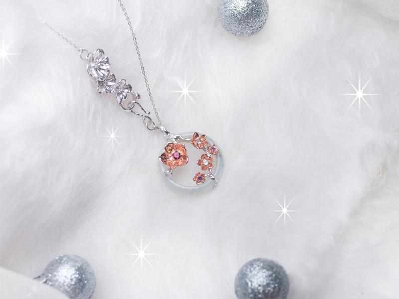 For the unwaveringly supportive Mom - The Sakura Garland Necklace-A bouquet of blooming Sakuras, a flower whose season is awaited around the world, in celebration of life's best and finest moments. A gift befitting the lady, who has loved us, through them all.