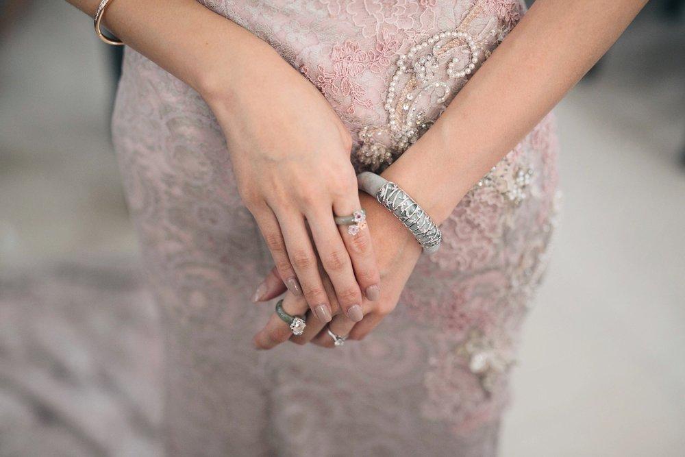 Sherlyn Chan's bridal jewellery, including the Choo Yilin Bamboo Jade Bangle