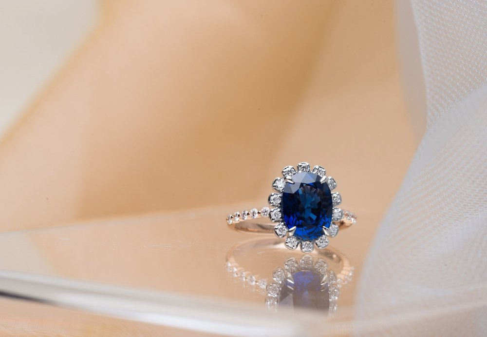 Choo Yilin Blue Sapphire Engagement Ring
