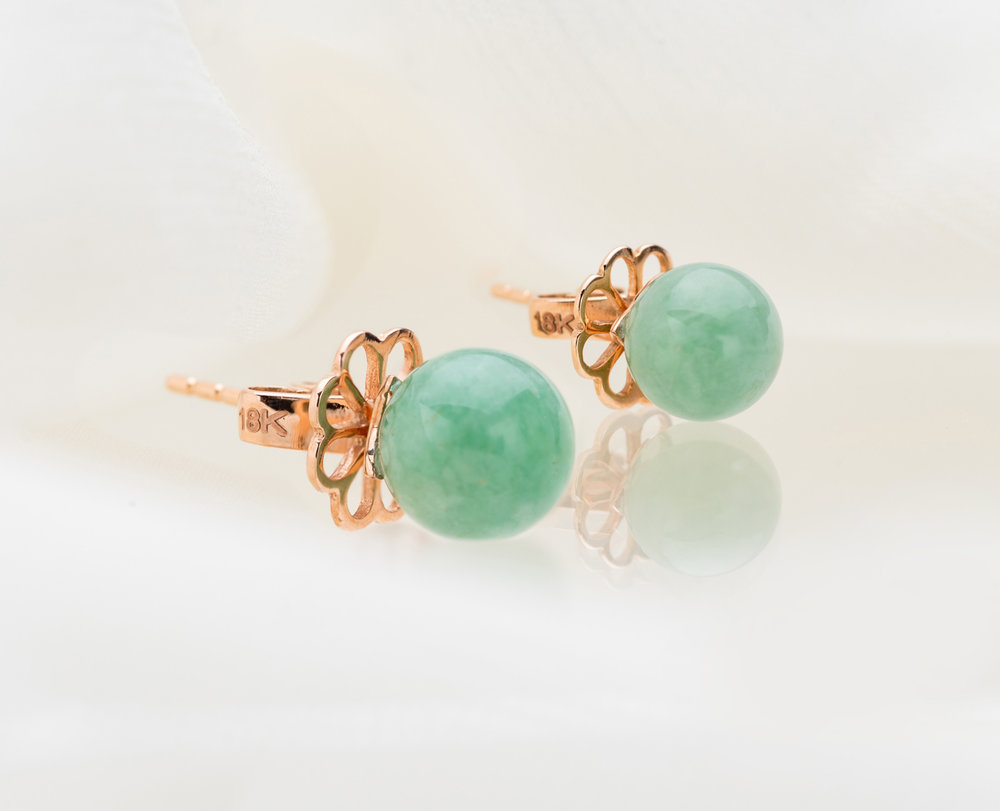 For Your Mother-in-Law - the reason why your spouse is perfectTo the wonderful lady that raised the finest daughter or son you now call your wife or husband, she deserves to be showered with love and gifts. The dreamiest of emerald green Jadeite beads were especially chosen for the Aura Jade Studs, set in stunning 18kt rose gold with an original Choo Yilin designed floral backing. In simplicity lies elegance; this is a timeless gift suitable to be worn by all ages.