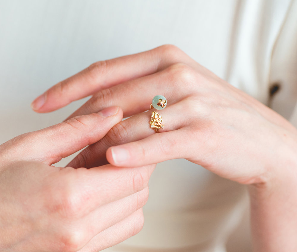 Stackable Rings - Not one to fancy just one design, or simply want to have it all? We find ourselves stuck in that dilemma too. The next time you shop for rings, settle on a piece that is outstanding on its own yet versatile enough to complement other jewellery. Our favourite is the Hydrangea Jade Bead Ring in 9KT solid gold.