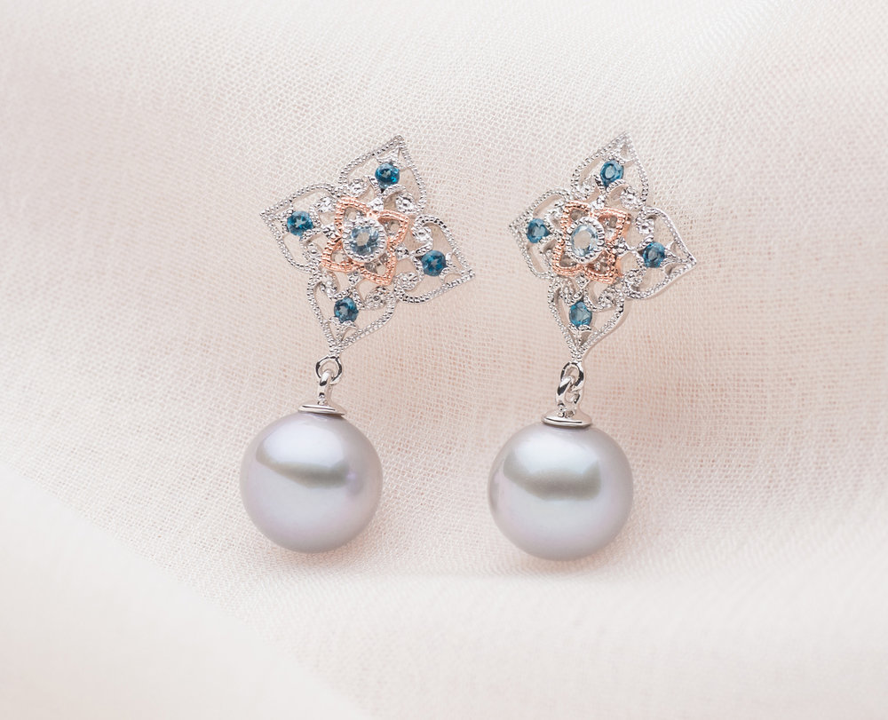 -  The peranakan lace pearl drops (9kt special edition)Luminous grey freshwater pearls were handpicked for each of pieces in the Special Edition Peranakan Lace Series, launched especially for Mother's Day. Don't miss let her out on these rare grey pearls!