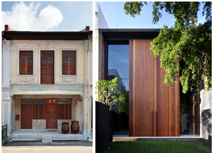 Only if we are able to understand our past, are we able to chart a future that is relevant. - Juxtaposition of old and new: (left) the front facade refreshed with a coat of paint; (right) the contemporary rear view of the same shophouse.