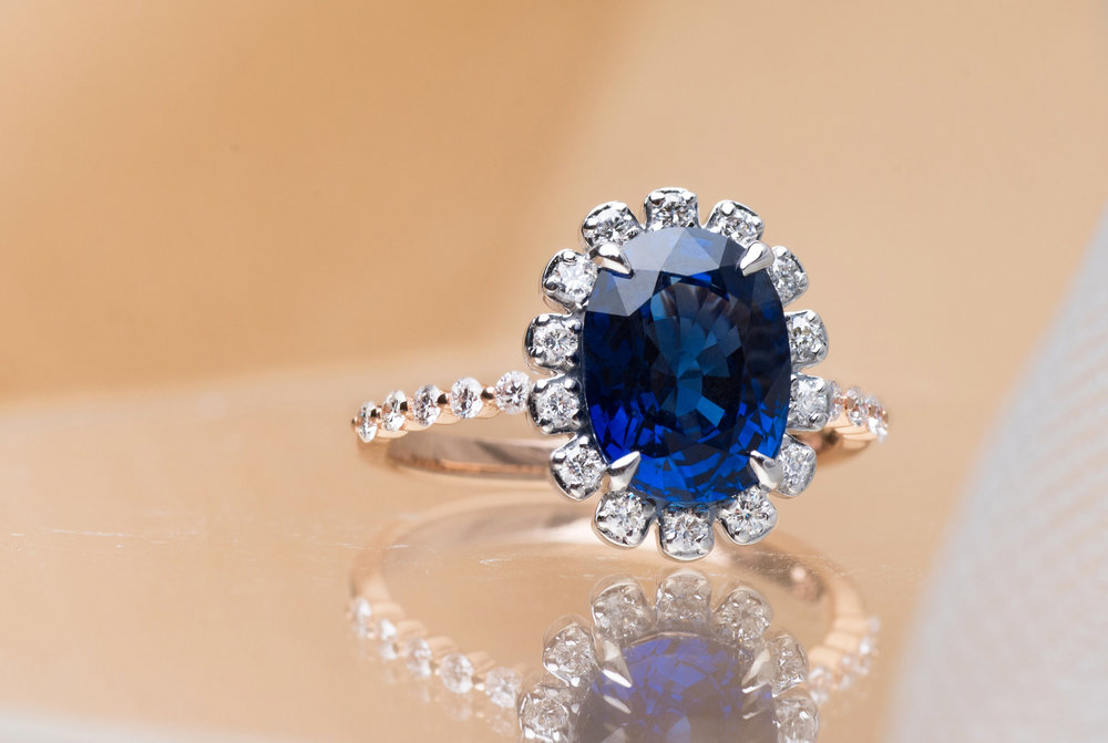 Choo Yilin Bespoke Royal Blue Sapphire & Diamond Embellished Engagement Ring