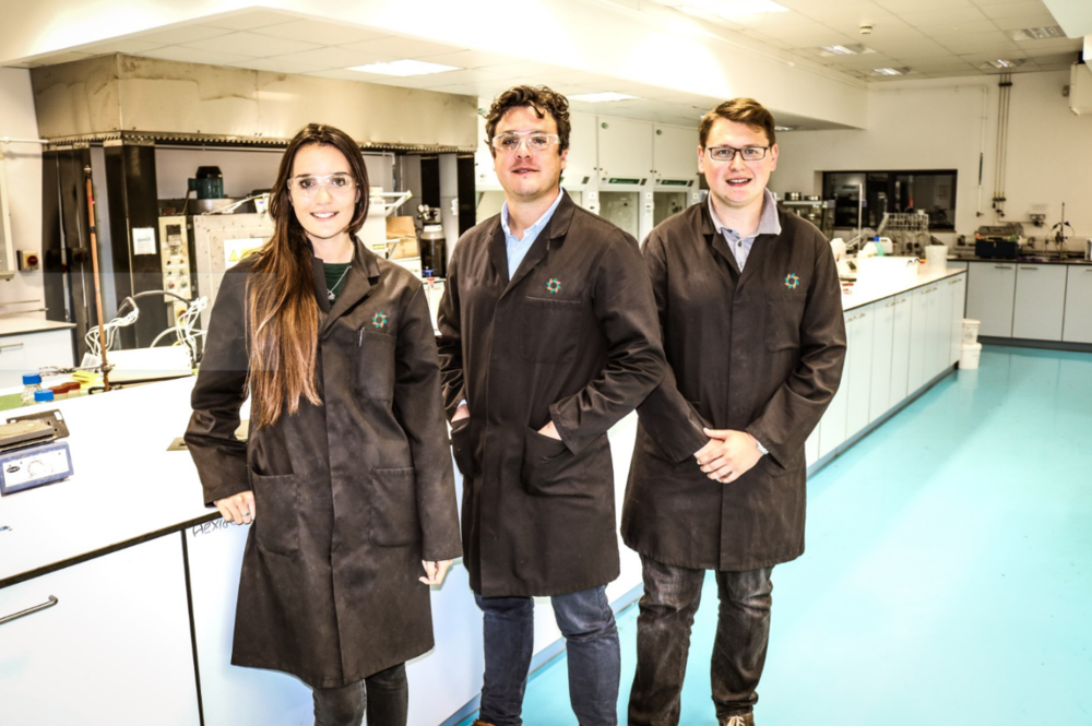 Ffion Stockden, Paddy Dodds and Calvin Richards in the Hexigone Laboratory.